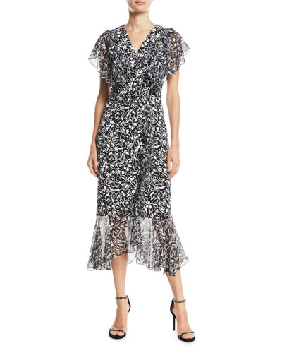 Painterly Floral-Print Ruffled Wrap Dress