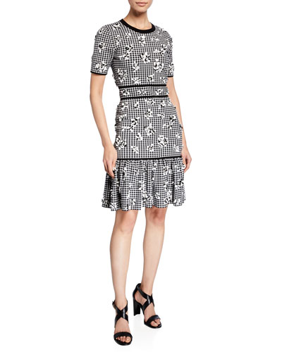 dc9f04f1a90 Quick Look. Michael Kors Collection · Gingham Floral Jersey Flounce Dress