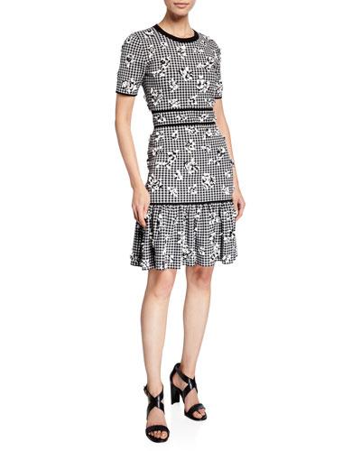 Gingham Floral Jersey Flounce Dress