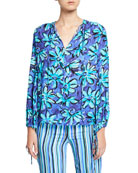 Michael Kors Collection Painted Daisy Crushed Georgette