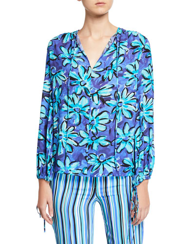 Painted Daisy Crushed Georgette Long-Sleeve Tunic Blouse