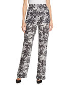 Michael Kors Collection Daisy-Print Crushed Georgette Pajama