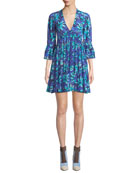 Michael Kors Collection Daisy Print Georgette Mini Dress