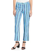 Michael Kors Collection Painterly Striped Crepe Cady Trouser