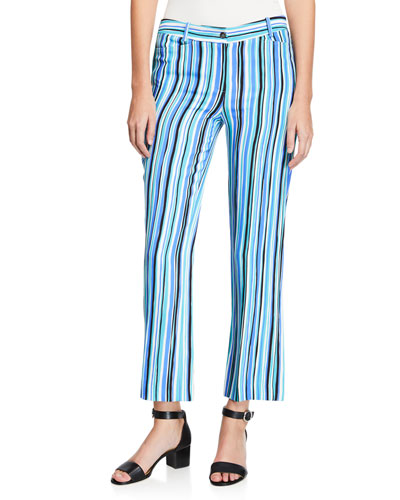 Painterly Striped Crepe Cady Trouser Pants