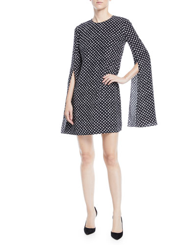 Polka-Dotted Split-Sleeve Dress
