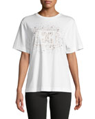 Escada Starburst Logo Crewneck Short-Sleeve Cotton Tee and
