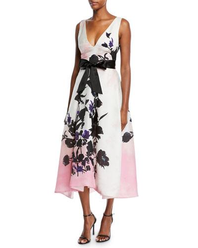 V-Neck Sleeveless Ribbon-Belt Floral-Print Daytime Dress