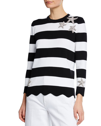 Starfish-Embellished Striped Compact Cotton Tee