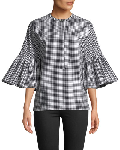 1/2 Bell-Sleeve Micro-Gingham Blouse