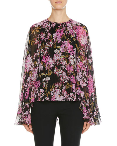 Floral-Print Cape-Back Bell-Sleeve Blouse