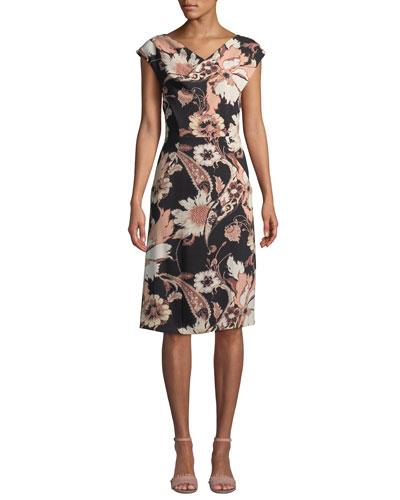 V-Neck Poppy-Print Sheath Dress