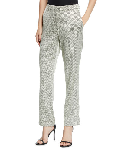 Shiny Dobby-Jacquard Straight-Leg Pants