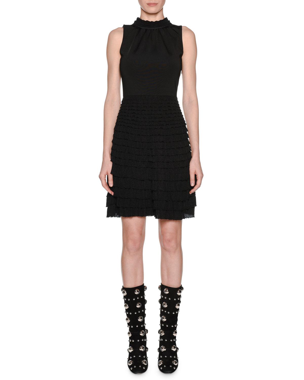 Sleeveless Knit Mock-Neck Tiered Ruffled A-Line Dress
