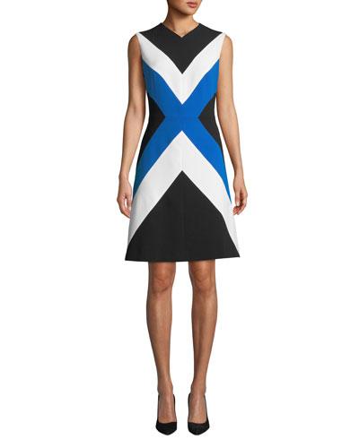 Sleeveless Colorblocked A-Line Dress