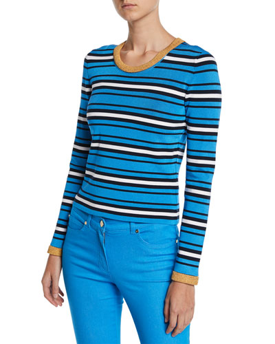 Crewneck Long-Sleeve Striped-Knit Sweater