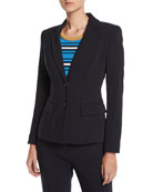 Escada Two-Button Wool Jacket w/ Striped Lining