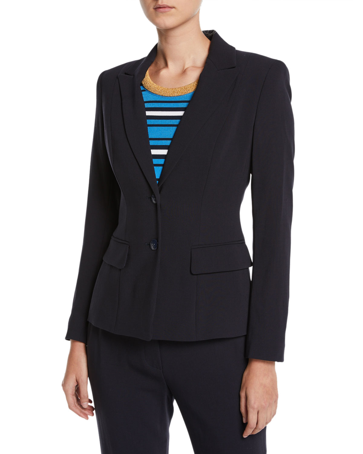 Two-Button Wool Jacket w/ Striped Lining