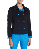 Escada Double-Breasted Short Wool-Cashmere Jacket and Matching