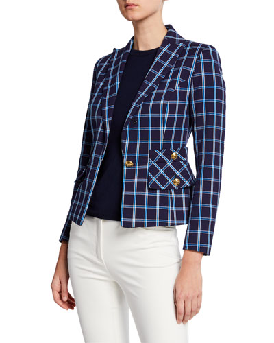 Single-Breasted Windowpane Cotton Jacket