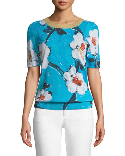 Short-Sleeve Floral-Print Pullover Top w/ Metallic Trim