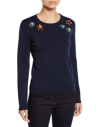 Jewel-Embroidered Crewneck Long-Sleeve Wool Sweater