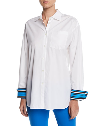 Striped-Cuffs Long-Sleeve Button-Down Cotton Blouse