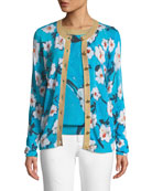 Escada Short-Sleeve Floral-Print Pullover Top w/ Metallic Trim