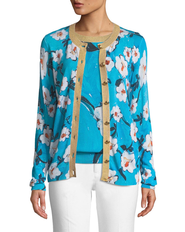 ESCADA Golden-Button Floral-Print Cardigan W/ Metallic Trim in Blue