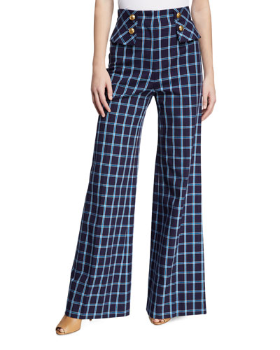 High-Waisted Wide-Leg Windowpane Pants