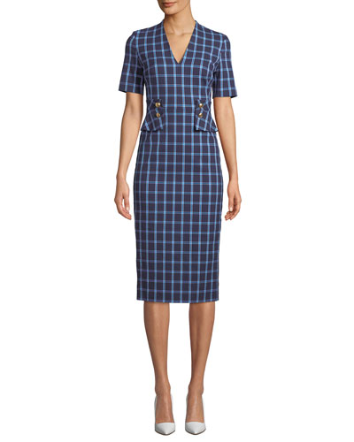 V-Neck Short-Sleeve Windowpane Sheath Dress