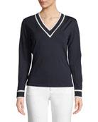 Escada V-Neck Long-Sleeve Wool Sweater w/ Contrast Tipping
