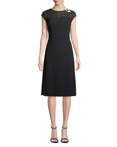 Cap-Sleeve Lace-Neck A-Line Crepe Dress