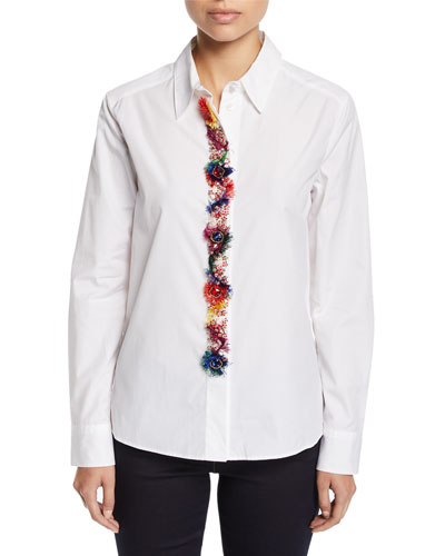 Fringe & Floral-Embroidered Placket Button-Down Cotton Shirt