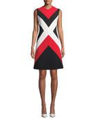 Escada Sleeveless Colorblock A-Line Dress