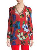 Escada V-Neck Long-Sleeve Painterly Floral-Print Tunic w/