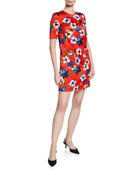 Escada Hammered Floral-Print Dress