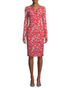 Escada Long-Sleeve Floral-Print Jersey Dress