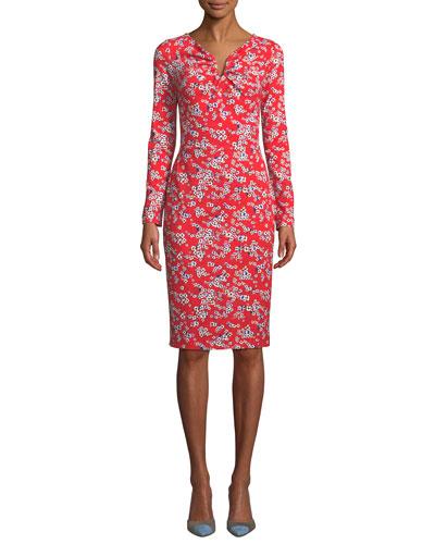 Long-Sleeve Floral-Print Jersey Dress