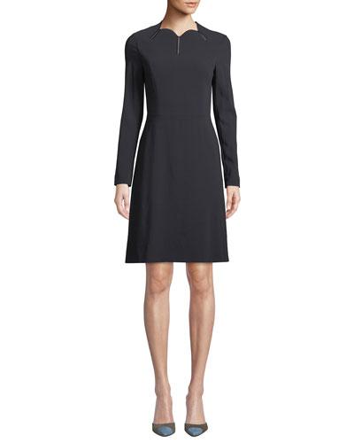Scallop-Neck Long-Sleeve A-Line Stretch-Wool Dress
