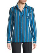 Escada Vertical-Stripe Button-Front Long-Sleeve Shirt and