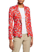 Escada One-Button Floral-Print Jersey Jacket
