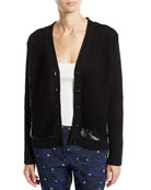 Escada Wool-Cashmere Sequined Button-Front Cardigan and Matching