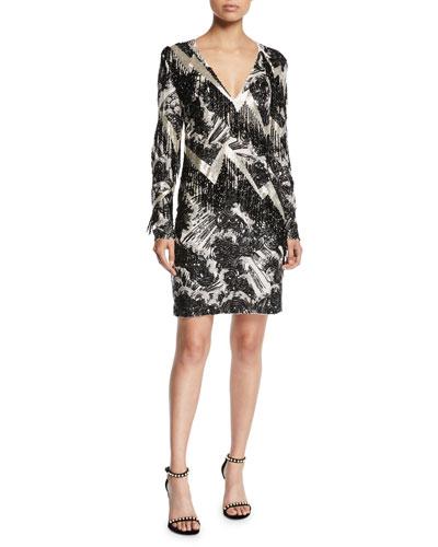 V-Neck Long-Sleeve Beaded-Fringe Lightning Cocktail Dress