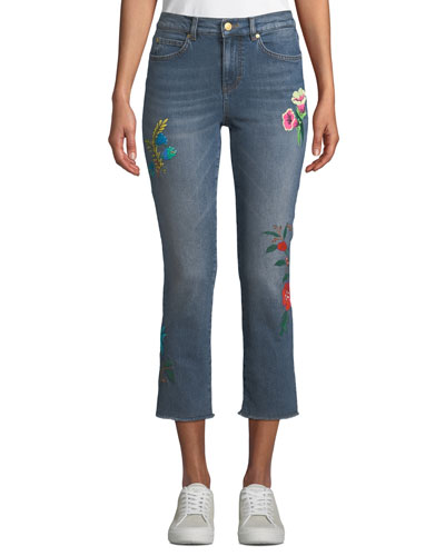Floral-Embroidered Cropped Straight-Leg Jeans