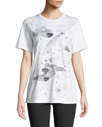 Clouds & Stars Crewneck Short-Sleeve Cotton Tee