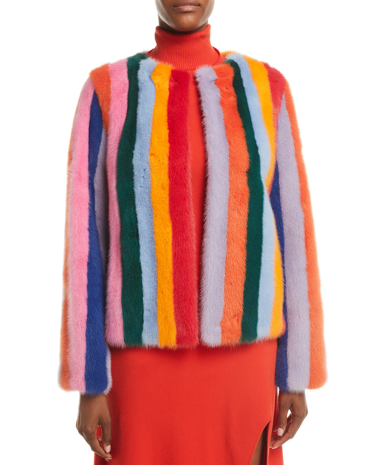 Multicolor-Stripes Mink Fur Jacket