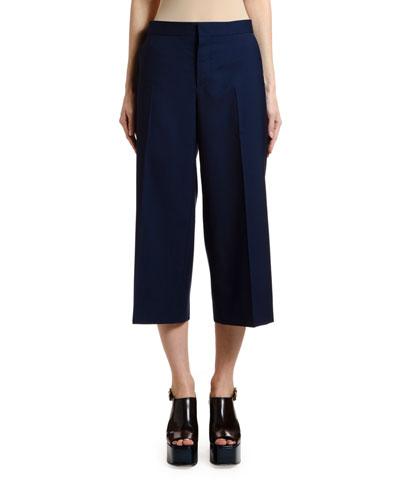 Wide-Leg Crop Tropical Wool Pants
