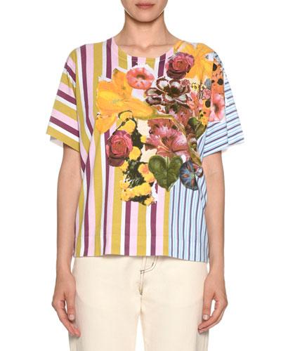 Short-Sleeve Crewneck Striped & Floral-Print Cotton T-Shirt