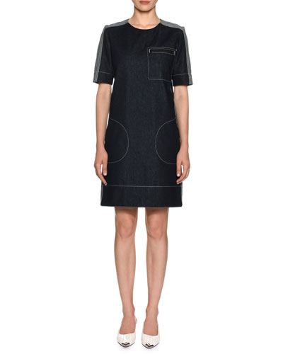 75c5148163f0 Quick Look. Marni · Short-Sleeve Denim Shift Dress ...